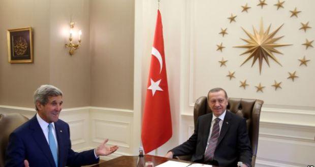 ABD Dışişleri Bakanı Kerry Ankara'da Cumhurbaşkanı Erdoğan ile görüşürken